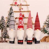 Natal gnomos garrafa de vinho topper capa decorativa artesanal sueco tomte vinho garrafa vestido de mesa de natal decorações jk2009ph