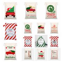 Presente de Natal doces Sacos Grande Orgânica de Santa Saco com cordão Bolsa renas Papai Noel xmas Sack Saco para crianças 50 * 70 centímetros FFA4415