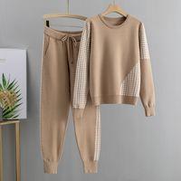 Gigógou jacquard tracksuits 2 peças conjunto de tracksuits outono mulher básica mulheres pulôver camisola + cenoura harem calças esportivas terno feminino