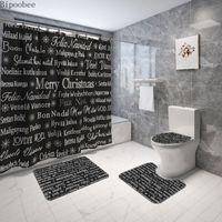 메리 크리스마스 욕실 세트 화장실 좌석 커버 블랙 샤워 커튼과 러그는 텍스트 인쇄 목욕 매트 홀리데이 장식을 설정합니다
