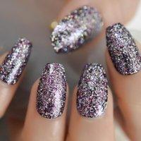 Xmas Stile Glitter falsi chiodi della bara Forma Kit Mix di luccichio di Natale elemant unghie Nail Medium Size 24