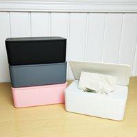 EASY-2Pcs tessuto Storage Box con coperchio antipolvere Soggiorno Office Home Tissue Box Dormitorio Telaio Camera Comodino Divano