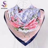 [BYSIFA] China Silk Scarf Shawl For Women 2020 Peony Inverno Design Corrente Grande quadrado Lenços Wraps Primavera Outono cabeça Lenços