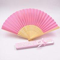 10pcs / lot di bambù e seta pieghevole favore Fans Wedding 12 colori personalizzati vuote ventagli di carta Con Confezione Regalo estate del rifornimento della festa