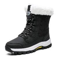 QGXSSHI hiver coupe-vent Bottes de neige Femmes 2020 lacées en peluche Bootee Femme d'extérieur Mi-mollet Bottes Femme Noir Blanc Big Taille 42