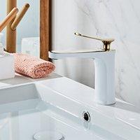 Banho Bacia Torneiras Branco e latão ouro pia de água de torneira Single Hole fria e água Tap Bacia Hot Toque Mixer torneira Torneira