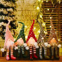 Fiesta de Navidad regalo de lana ED luz árbol de Navidad Gnome muñeca colgantes Adornos Knitting Manualidades Decoración DHE1229