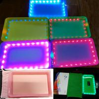 LED 롤링 트레이 실리콘 담배 24.5x14.5cm 핸드 롤러 롤 트레이 순수한 컬러 케이스 충전식 빛 트레이 플레이트 흡연