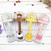 Moins cher bouteille personnalisée cadeau promotionnel 500ml Cartoon Agitation Bureau Cup en plastique d'eau tasse à café en plastique transparent Bouteille d'eau Tumbler