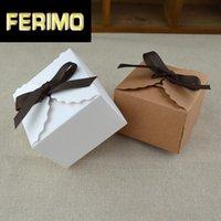 Geschenk Wrap 50 stücke Weiß / Kraft Mini Kraft Papierkiste Vintage DIY Hochzeitsbevorzugung Kleine Einzelkuchen Süßigkeitenboxen Verpackung mit Band