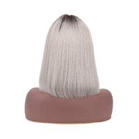 1B Gri renkli Bob Peruk Tam Makinesi Ham Hint Remy Düz Kısa İnsan Saç Peruk ile Bangs% 150 Pixie Cut Gümüş Gri Ombre Tutkalsız Peruk