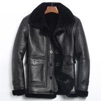 Jaqueta de couro genuíno inverno Sheep Shearling Jacket homens real Sobretudo de pele masculino Mens vôo Jacket185-1 KJ1078