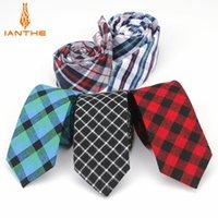 Neck Ties 6cm Men's Suit Tie Classic Men Plaid Necktie Formal Business Bowknots Male Cotton Skinny Slim Vintage Check Cravat