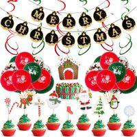 Festa de Natal Balão de Natal balão bandeira redonda Latex alumínio Film Matching Cena Decoração Balão de Natal em estoque