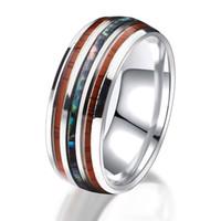 Joyería de moda con grano de madera de acero inoxidable de acero inoxidable anillo casual anillo masculino elegante hembra anillo compromiso valentines día regalo