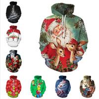 Projektanci Santa Claus Boże Narodzenie Snowflake Casual Para Nosić Z Kapturem Sweter Jesień Zima Z Długim Rękawem Pullover Kurtka Dla Mężczyzn Kobiety D9301