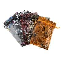 Хэллоуин рождественские сумки органзы паук нет, Net Drawstring все размеры сумки подарки сумки Струнные ювелирные изделия сумки рождественские подарочные мешочки (15x10см)