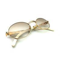 الرجال الكلاسيكية الجاموس الأبيض قرن إطار ظلال النظارات الشمسية العلامة التجارية الفاخرة البيضاوي كارتر نظارات جولة 7550178 VNLU