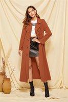 Manches longues Manteaux Mode couleur solide Femmes Vêtements Vêtements pour femmes Slim Designer Trench double boutonnage cou Lapel