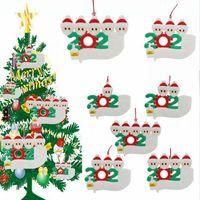 2020 Ornament Personalisierte Survivor Familie 1 2 3 4 5 Dekorationen Masked Hand gewaschen Weihnachtsbaum-hängende Anhänger LJJP578