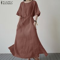 O élégante des femmes d'été Sundress ZANZEA Neck Maxi Dress Demi Casual manches taille haute Vestidos Femme solide Robe surdimensionné 5XL