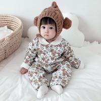 3 colori neonato ragazze ragazzi inverno tuta infantile spesso pagliaccetto tuta baby cappotti abiti vestiti caldi in cotone morbido