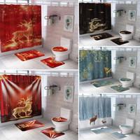 크리스마스 엘크 욕실 커튼의 다양한 스타일 3D 무대 사슴 방수 샤워 커튼 화장실 커버 매트 비 슬립 러그를 설정합니다
