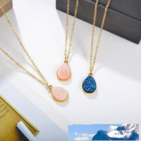 New Arrival Waterdrop Resin Druzy Pendant Necklace for Women...
