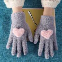 خمسة أصابع قفازات الشتاء أزياء المرأة فتاة لطيف القلب مطبوعة كامل الإصبع الدافئة القفازات للإناث