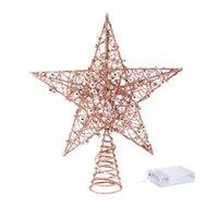 Árvore de Natal 1PC Ferro Estrela Topper com luz LED Glitter Estrela ChristmasTree Topper 5 Ponto Festival Treetop Decor