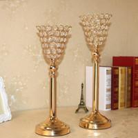 Party Dekoration Hochzeit Kristall Mittelstück Zubehör Metall Kerzenhalter Blume Stand Tall Kerzenständer