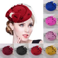 Chapéus de Brim Pontao Bowknot Chapéu de Cabelo Clip Lady Mini Top Cap Decor Lace Fascinator Traje Acessório # 0318Y30
