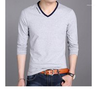 Hauts manches longues couleur pure col en V T-shirts Casual Hommes Designer T-shirts imprimés Lettre Mode