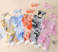 2020 baby kinder kleidung krawatte farbe romper charmant 100% baumwolle mädchen rosa langarm bedruckte pit stripe romper + pant + headband set