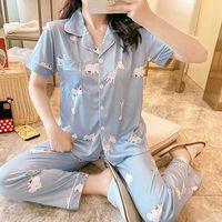 Vêtements de nuit pour femme Pajama Pajama Pijama Sexy Coton Femmes Summer Great Taille Pajama Femme Salon Sommeil Sleep Sleeve Pyjamas 2021