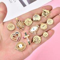 Charms 1Pcs Eye Cross Heart Bracelet Connector Copper CZ Zircon DIY Pendant For Jewelry Making Necklace Accessories