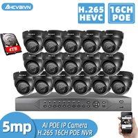 Ahcvbivn H.265 + 16CH 4K 5MP Poe NVR CCTV نظام كاميرا AI Ultra HD في الهواء الطلق ماء الأمن IP كاميرا مراقبة فيديو مجموعة