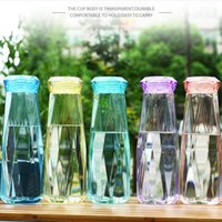 Оптовая Самая низкая BPA Free Девушки Использование Cute Алмазные Summer Joging Спорт Портативный бутылки воды 21oz 600мл бутылки Высокое качество пластиковых воды