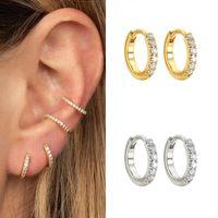 10 / 13mm 925 Sterlingsilber Kleine Band-Ohrringe für Frauen Einfache Minimalist Huggie Ohrringe Kristall CZ Fashion Jewelry