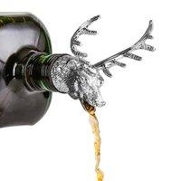 4 cores Alloy criativa Wine cabeça de veado zinco Bottle Cork Pourer Stopper cervos Wine Stag Pourer aerador Barware Decor Bar Ferramentas HHD1741