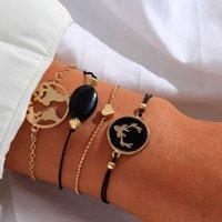Anomokay 4PCS / LOT europäische amerikanische Art und Weise kreativer Black Oil Antlers Love Set Armband Schmuck Fo