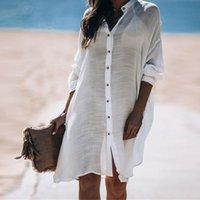 2020 Pamuk Gömlek Stil Plaj Giyim Kapak Ups Kadınlar Güneş kremi Uzun Kollu Bikini Kapak-Ups Mayo Gevşek White Beach Elbise Tunik