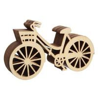 Madeira Forma de bicicleta enfeites de árvore de Natal Crafts pendurado pingente Etiquetas Ornament Xmas para Art DIY Craft Scrapbooking 10pc