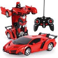 Schaden Rückerstattung 2In1 RC Auto Sportwagen Transformation Roboter Modelle Fernbedienung Deformation RC kämpfen Spielzeug Kinder GiFT