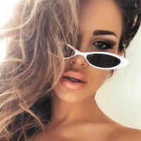 small Oval Sunglasses Women Retro Cat Eye clear lens ladies ...