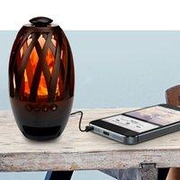 Alto-falantes portáteis usb carga sem fio Bluetooth Speaker chama Lâmpadas Lâmpadas Pequenas Atmosfera ao ar livre para acampar desktop