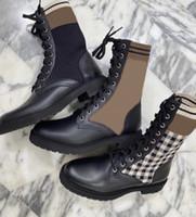 Женские ботинки Black Rookoko Combat Boots Designer Sock Martin Boot Real Кожаные ботинки на шнуровке на шнурок вязание носки обувь 9 цветов хорошее качество