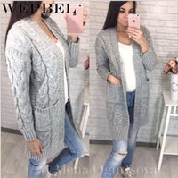 WEPBEL نسائية عادية معطف كم طويل فضفاض جيب سترة الخريف والشتاء محبوك أزياء الصلبة لون سترة صوفية كنزة
