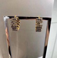 패션 편지 라운드 다이아몬드 귀걸이 상자 여성 파티 웨딩 애호가 선물 보석 참여에 대한 orecchini을 aretes