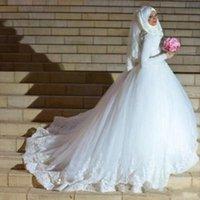 Muçulmano noiva manga comprida Branco Tulle vestidos de noiva alta Neck apliques de renda islâmica árabe Inverno Puffy vestidos de noiva Robe de Mariage